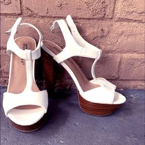 Platform White Peep Toe Heels